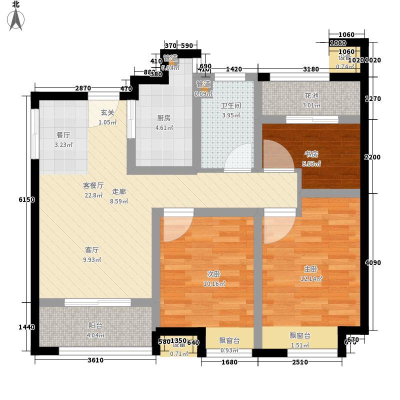 中国户型大全 南通 世茂公元 3室1厅1卫1厨 80-100㎡  户型图报错
