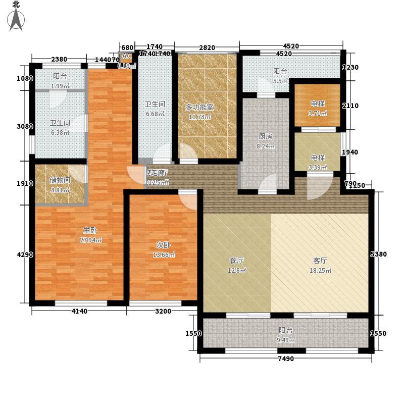 万科长风别墅2室1厅2卫1厨210.00㎡户型图