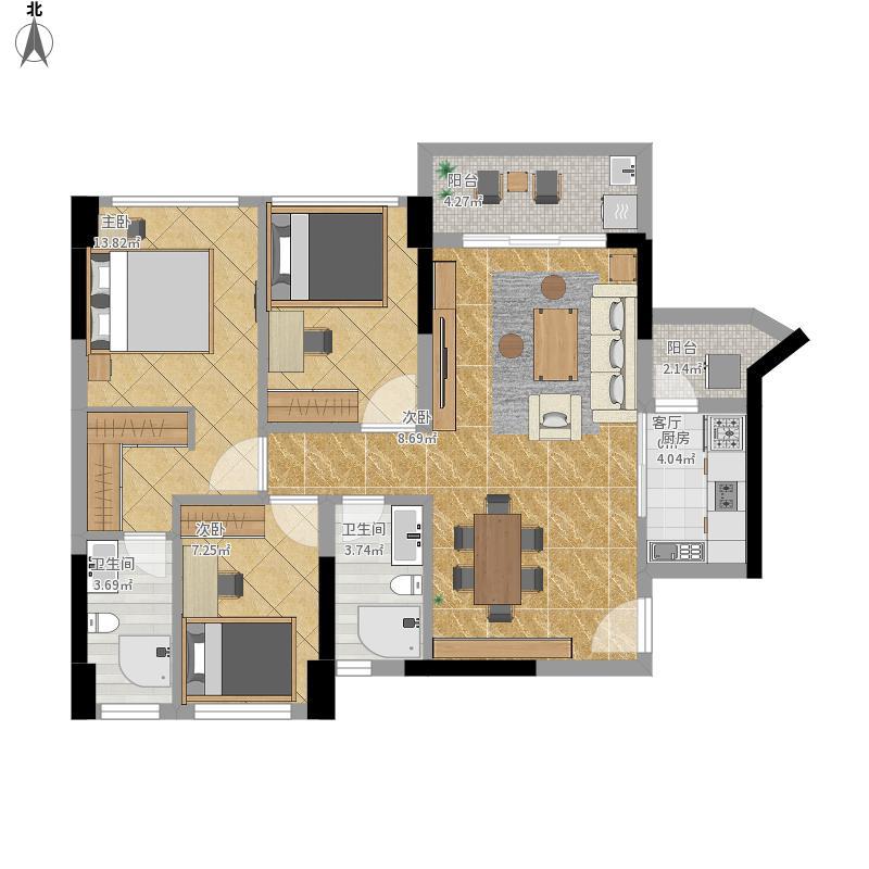 长安新世纪宜居3室1厅2卫1厨106.00㎡户型图