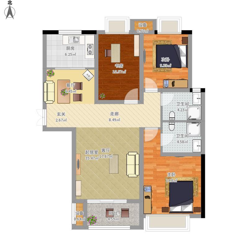 菏泽鲁商凤凰城3室0厅2卫1厨127.00㎡户型图