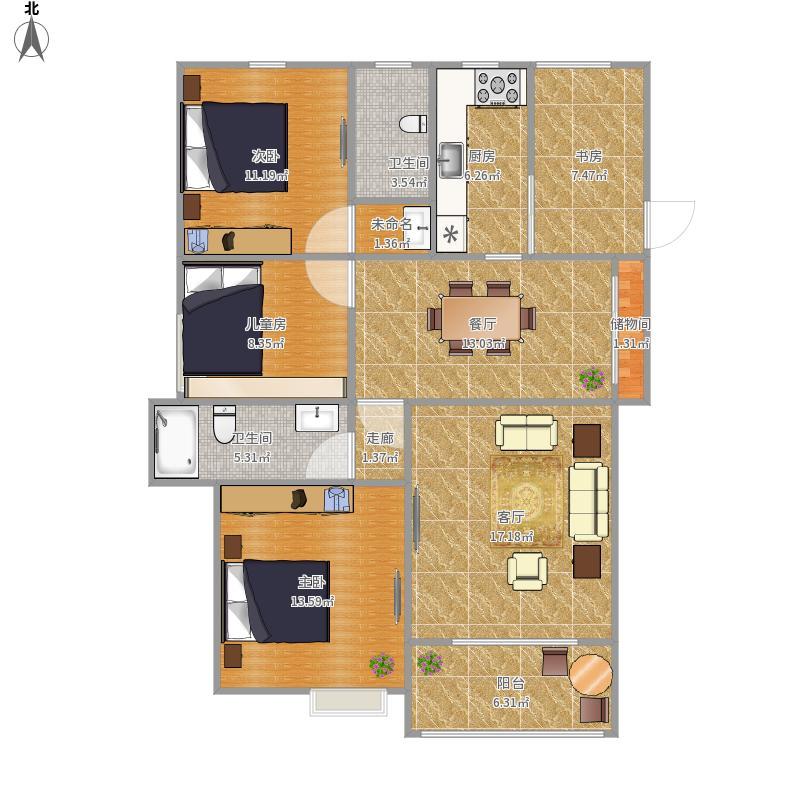 如东县4室2厅2卫1厨131.00㎡户型图