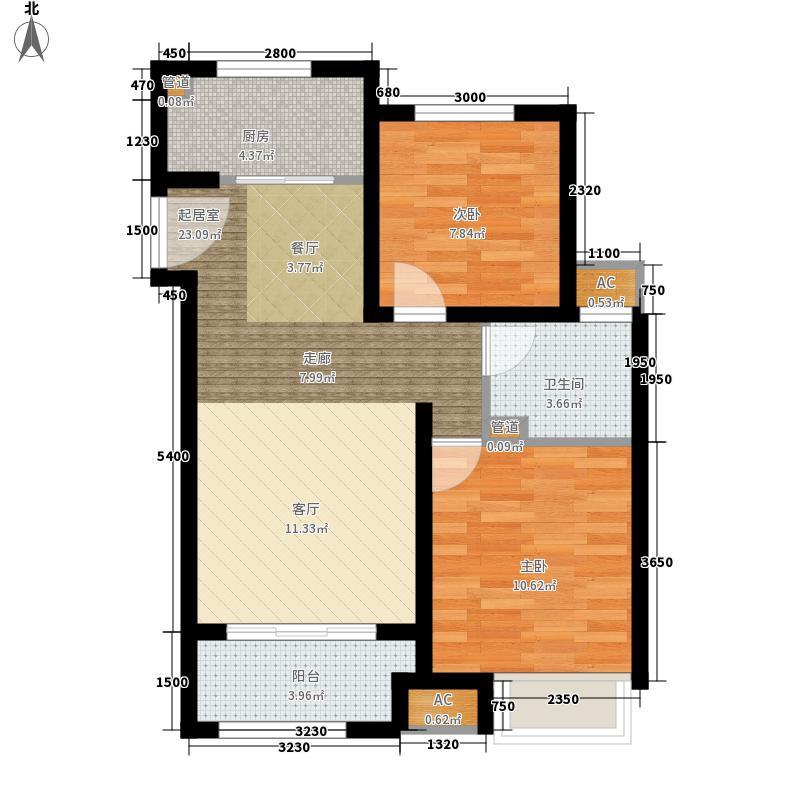 雍鑫红星华府2室0厅1卫1厨88.00㎡户型图