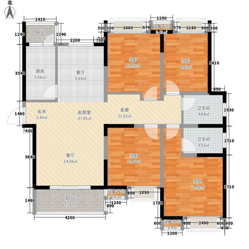 中国户型大全 西安 城市风景都市印象 4室0厅2卫1厨 130㎡及以上