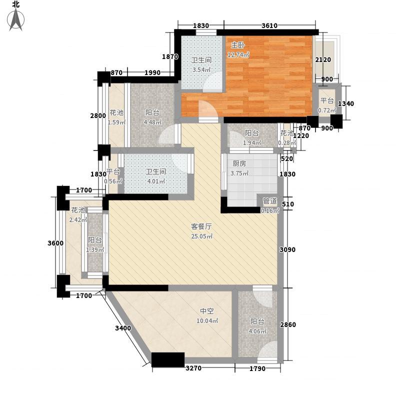 人和莱茵花语1室1厅2卫1厨82.00㎡户型图