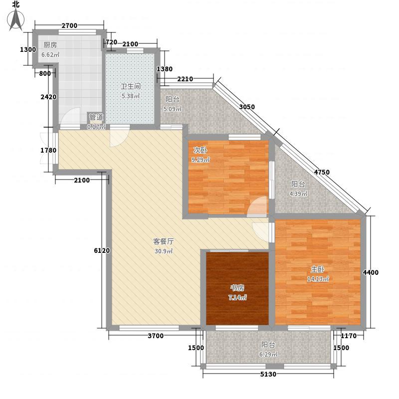 名城燕园3室1厅1卫1厨110.00㎡户型图