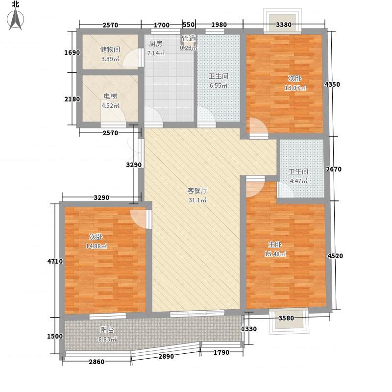 如皋世纪光华苑3室1厅2卫1厨146.00㎡户型图