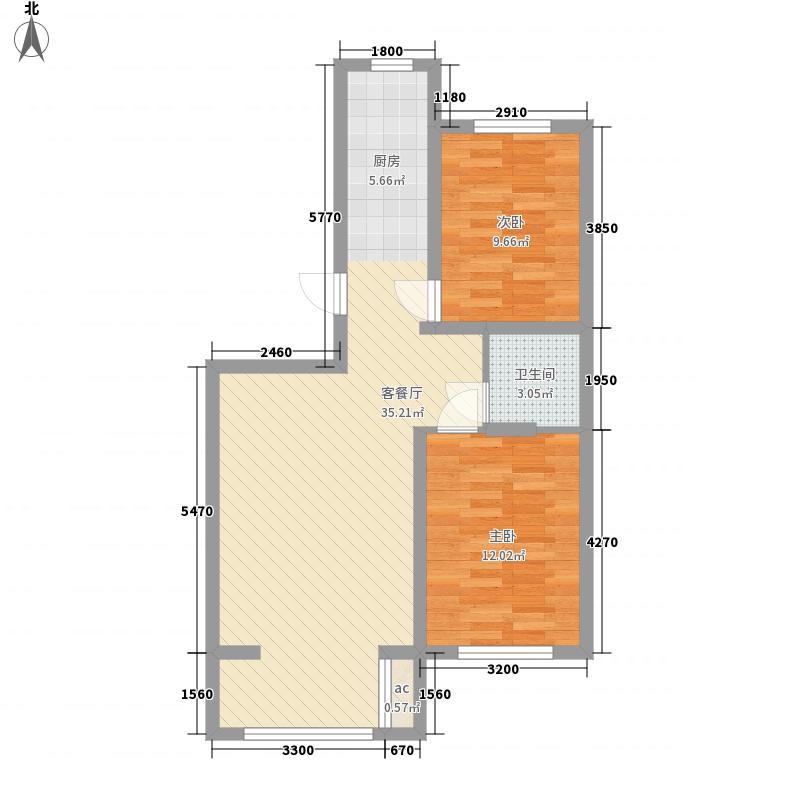 天然理想城二期2室1厅1卫0厨60.51㎡户型图