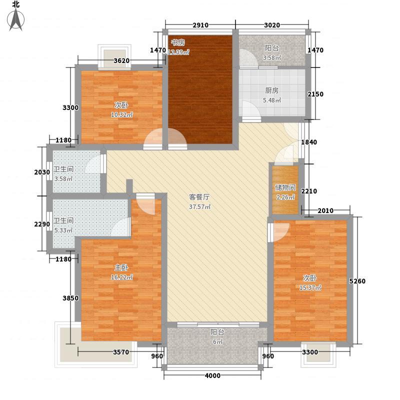 绿洲尧舜公寓4室1厅2卫1厨168.00㎡户型图