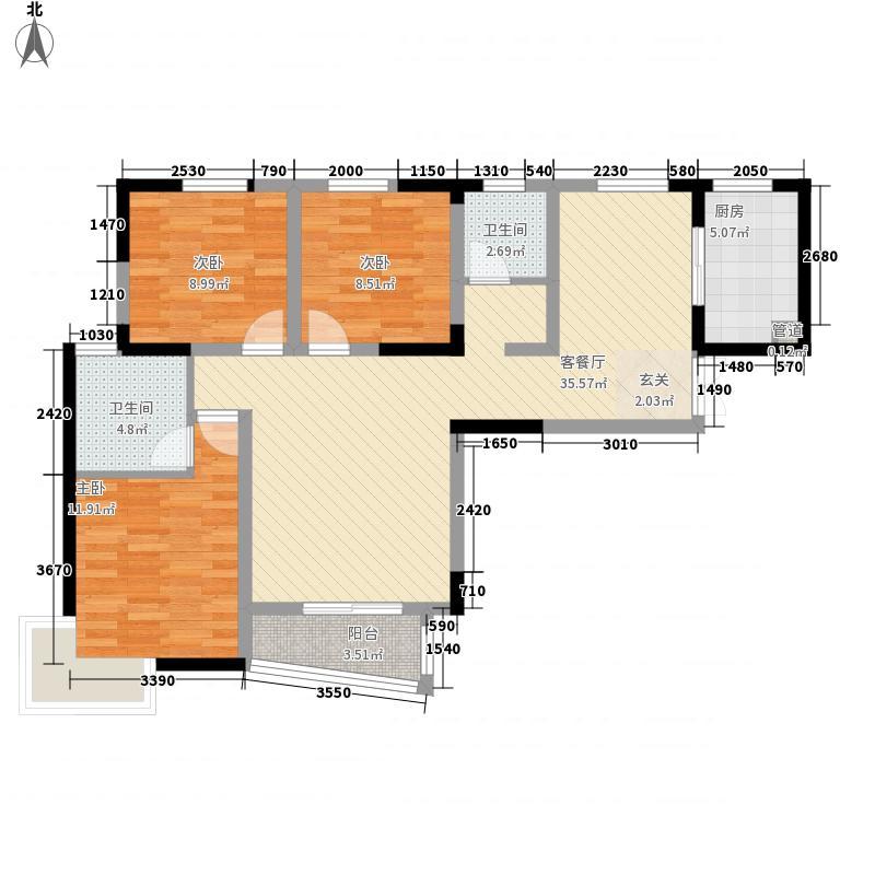 利港银河新城3室1厅2卫1厨126.00㎡户型图