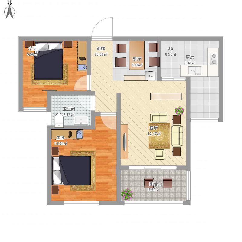 建业90平2室2室0厅1卫0厨90.00㎡户型图
