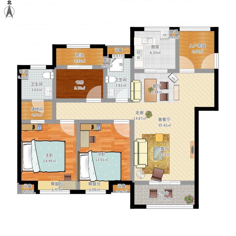 中国户型大全 南通 世茂公元 3室1厅2卫1厨 130㎡及以上  户型图报错