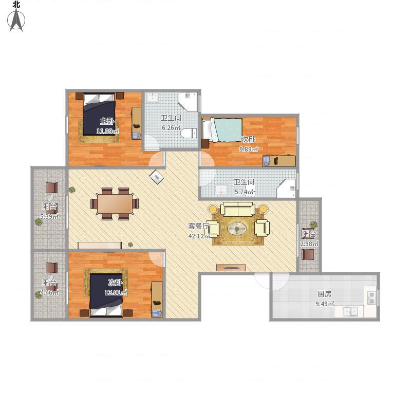 保亿风景蝶院3室1厅2卫1厨150.00㎡户型图