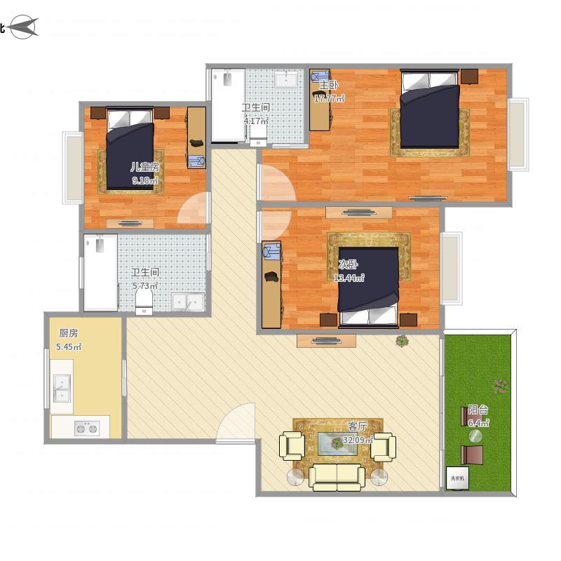 泰安公寓3室1厅2卫1厨127.00㎡户型图