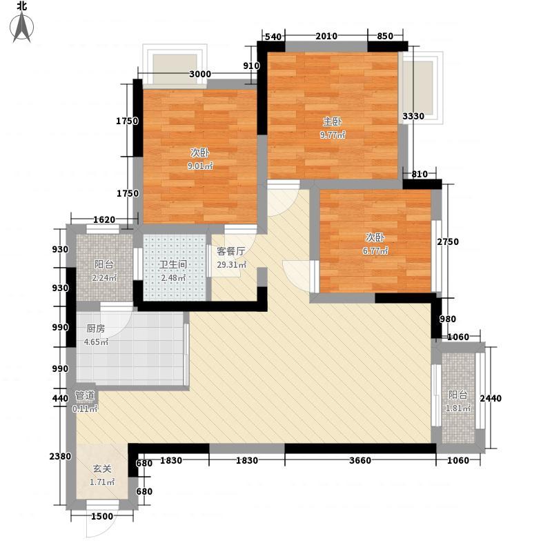 融汇半岛c公馆3室1厅1卫1厨97.00㎡户型图