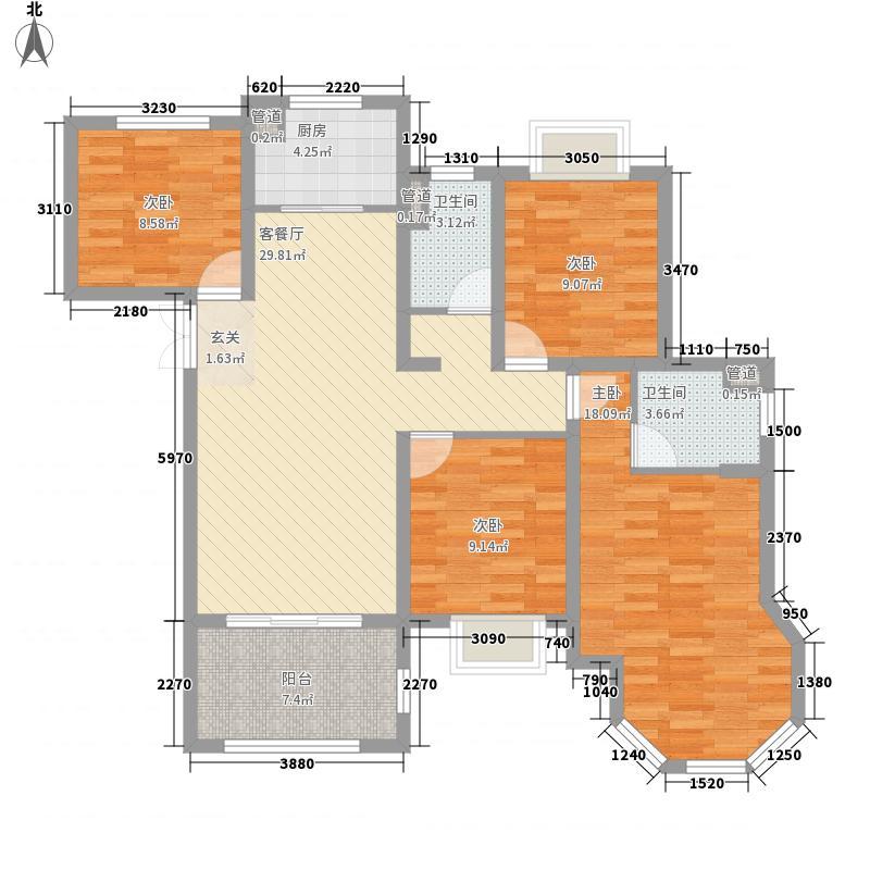 如皋中南世纪城4室1厅2卫1厨135.00㎡户型图