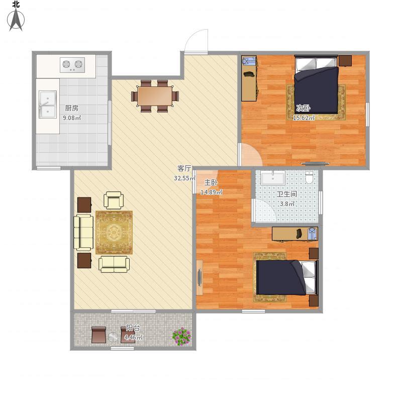 保亿风景蝶院2室1厅1卫1厨108.00㎡户型图