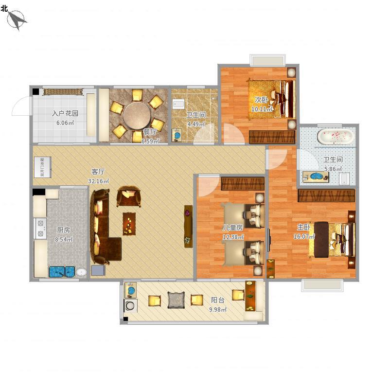 中国户型大全 泸州 维多利亚领秀 3室2厅2卫1厨 130㎡及以上  户型图