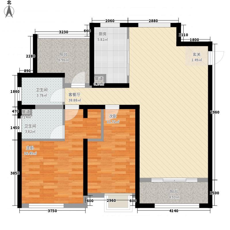 中国户型大全 营口 佳兆业君汇上品 2室1厅2卫1厨 100-130㎡  户型图