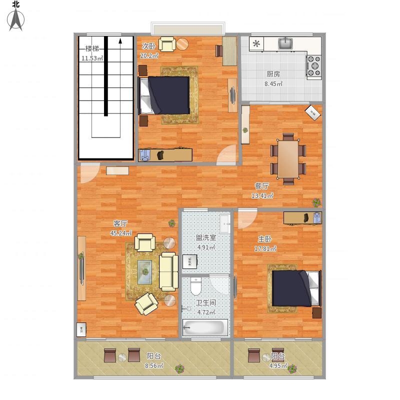 自建房户型图方案0022室2厅1卫1厨169.00㎡户型图