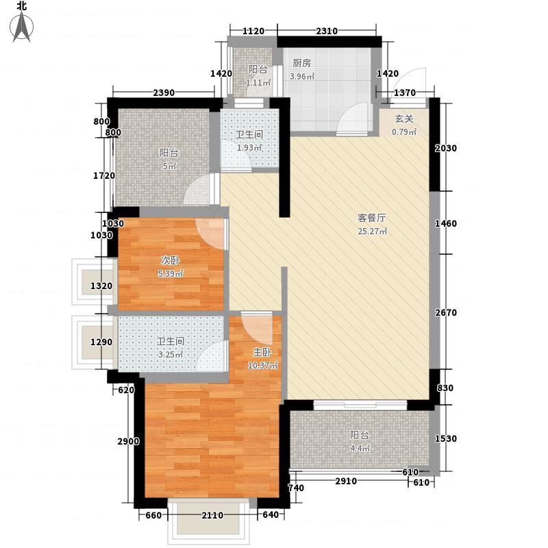 常绿林溪谷2室1厅2卫1厨88.00㎡户型图图片