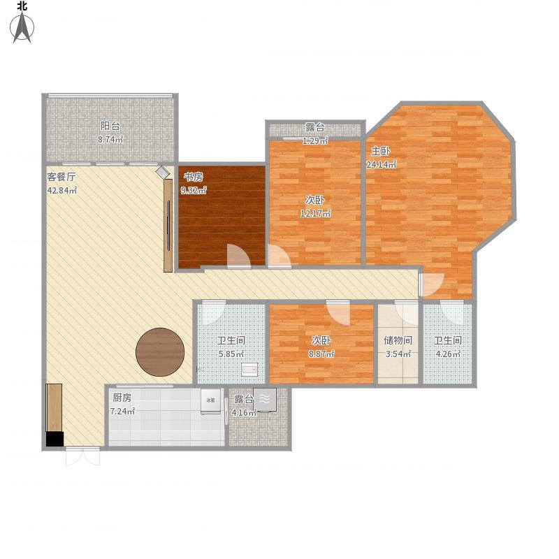 民生丽岛4室1厅2卫1厨178.00㎡户型图