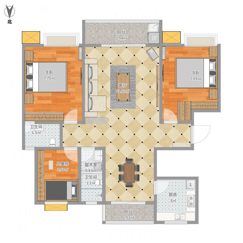 中国户型大全 许昌 恒达名门尚居 3室2厅2卫1厨 130㎡及以上  户型图