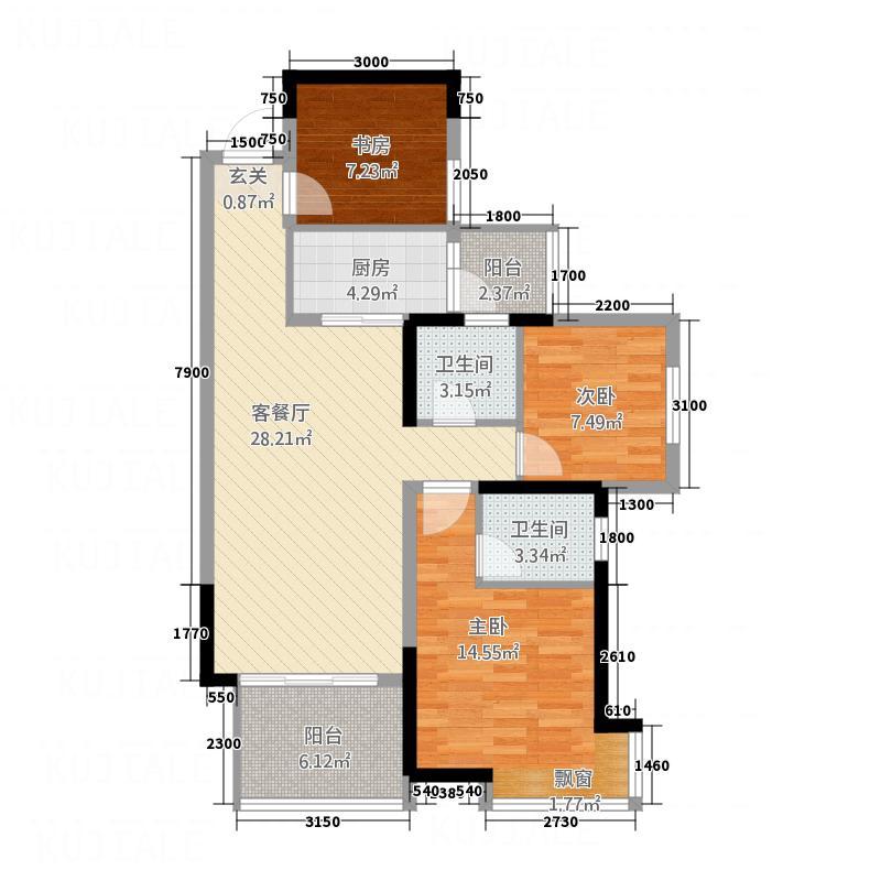 德阳万达频谱3室1厅2卫1厨76.75户型图htmlaudio绘制广场图图片