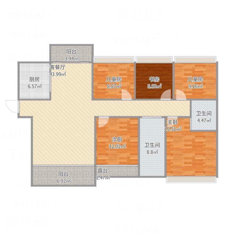中国户型大全 株洲 华晨山水印象 5室1厅2卫1厨 130㎡及以上  户型图
