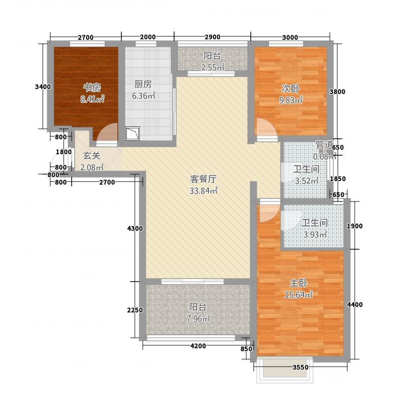 大运外滩玺园3室1厅2卫1厨129.00㎡户型图