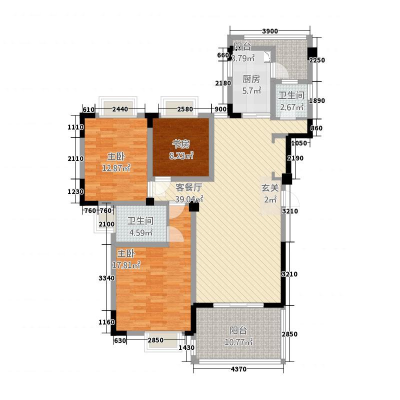 御府花都3室1厅2卫1厨128.00㎡户型图