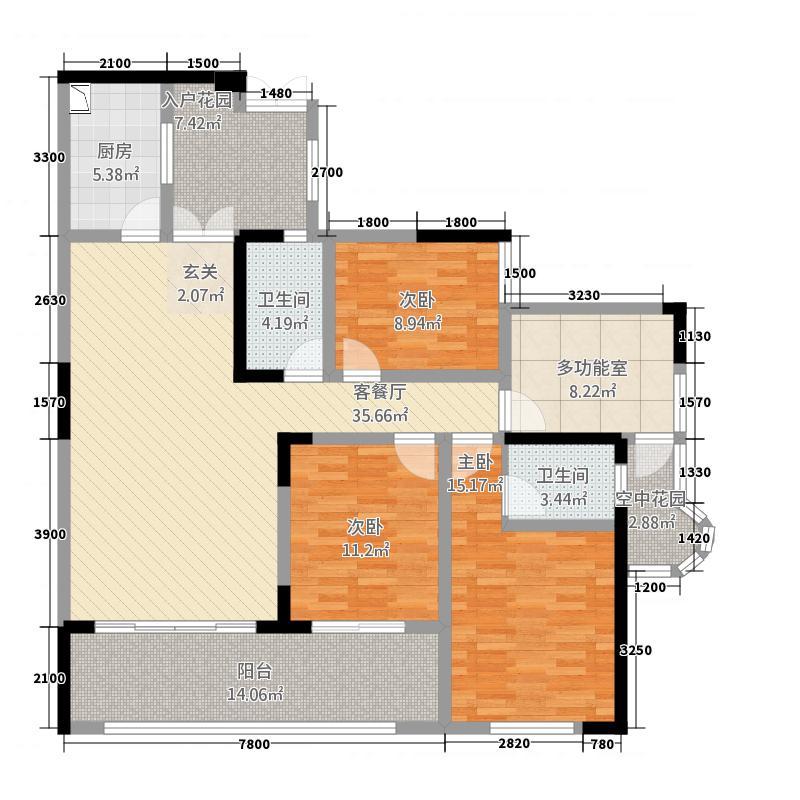半岛明珠3室1厅2卫1厨23126.00㎡户型图