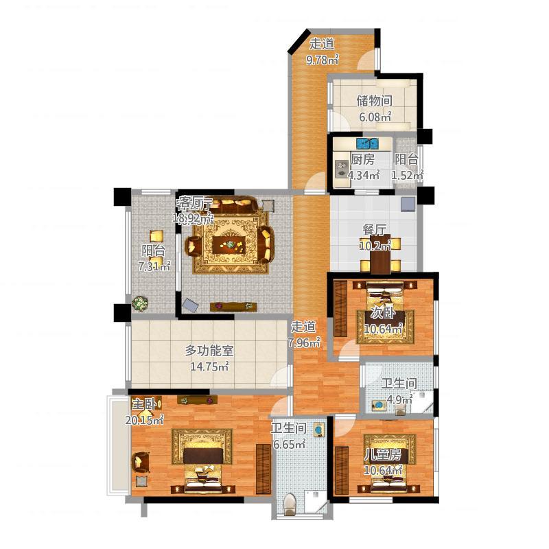 中国户型大全 成都 洛森堡新殿蝶郡 3室0厅2卫1厨 130㎡及以上  户型