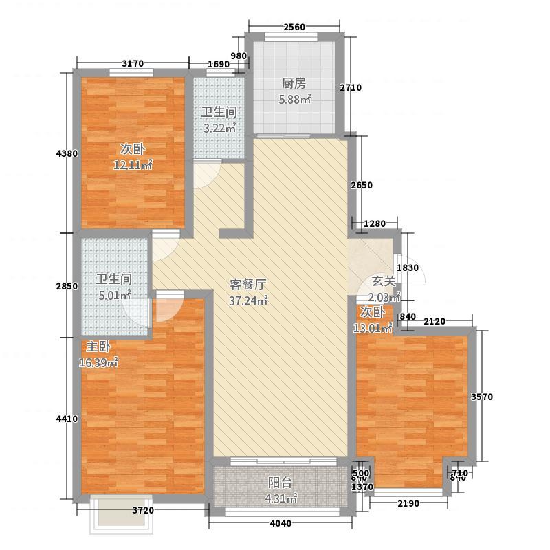 清华忆江南3室1厅2卫1厨28213.00㎡户型图