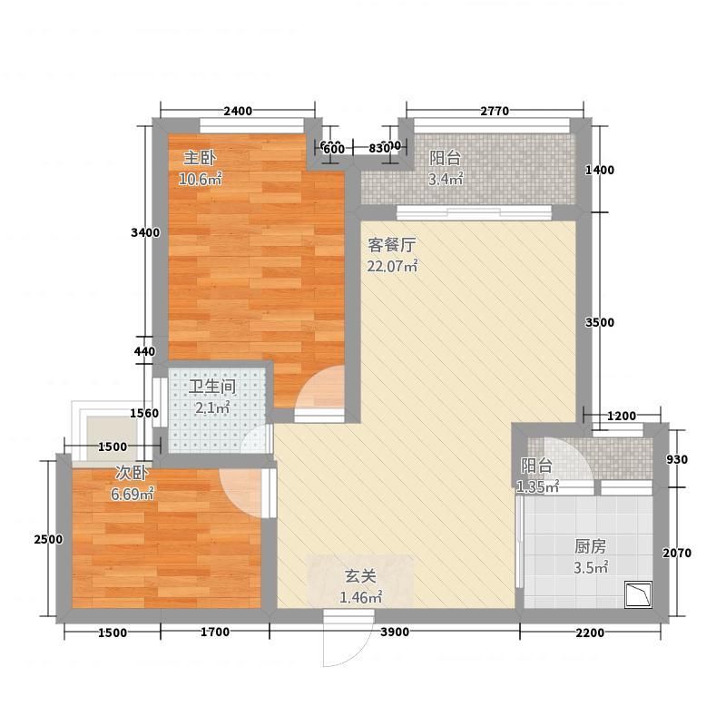 天仙湖莱茵半岛2室1厅1卫1厨74.00㎡户型图