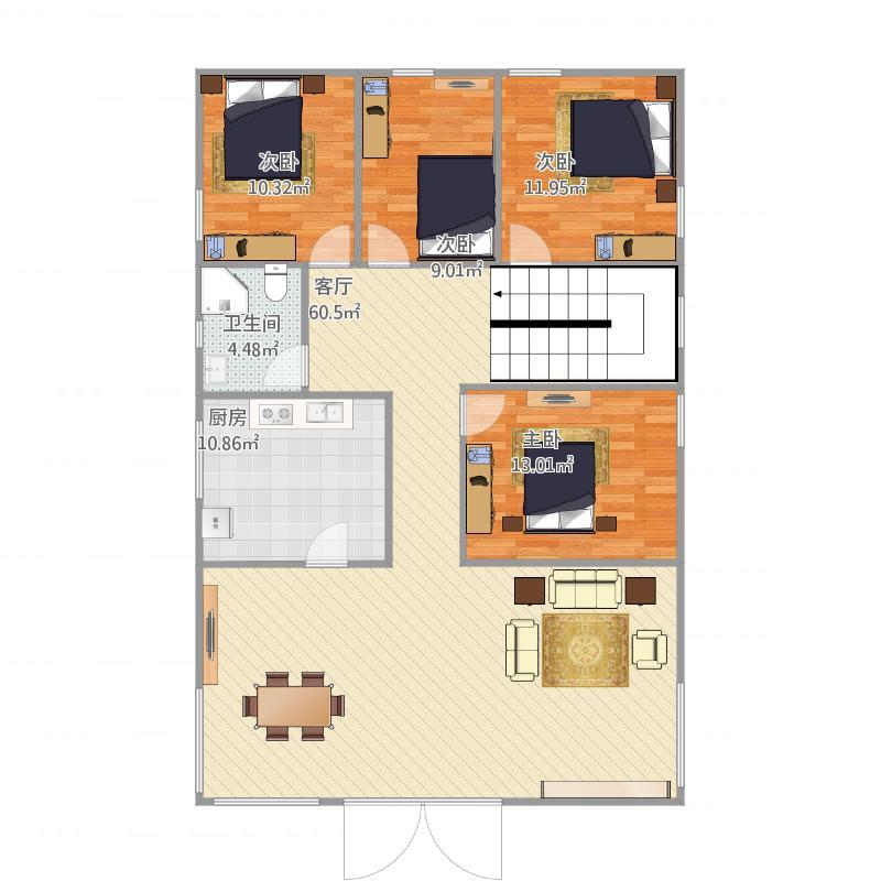 农村户型4室1厅1卫1厨160.00㎡户型图