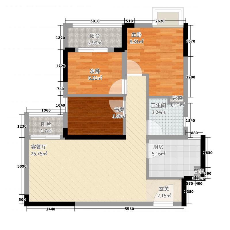 世贸林屿岸3室1厅1卫1厨88.00户型图超高别墅v户型玻璃门图片