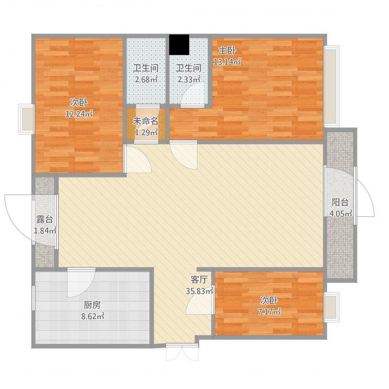 中国户型大全 渭南 苏园风景1-1-301邢小英 3室1厅3卫1厨 100-130㎡