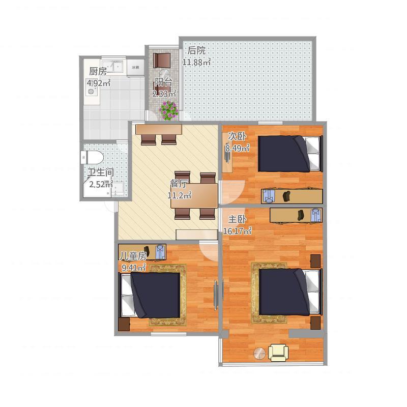核动力院九茹村户型3室1厅1卫1厨90.00大院武汉赵国华室内设计图片