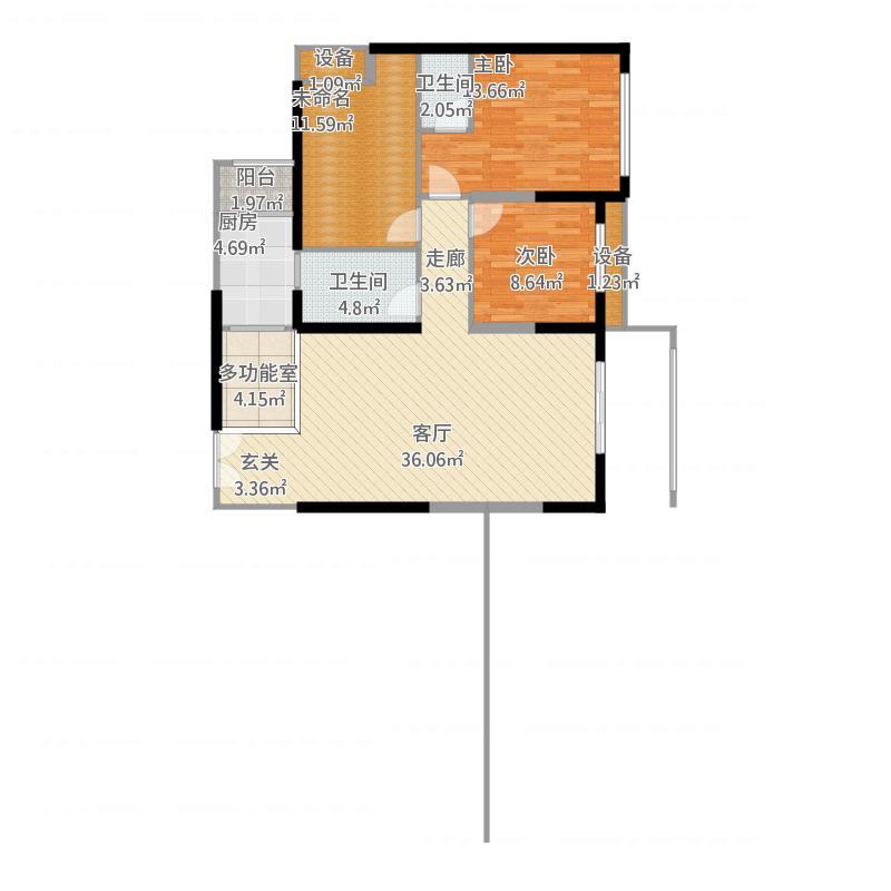 愿景河之洲2室1厅2卫1厨126.00㎡户型图