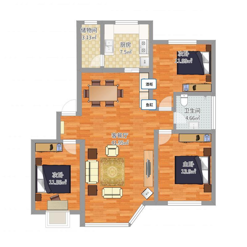 远征一体港湾3室1厅1卫1厨135.00都市图客餐厅户型v一体图片