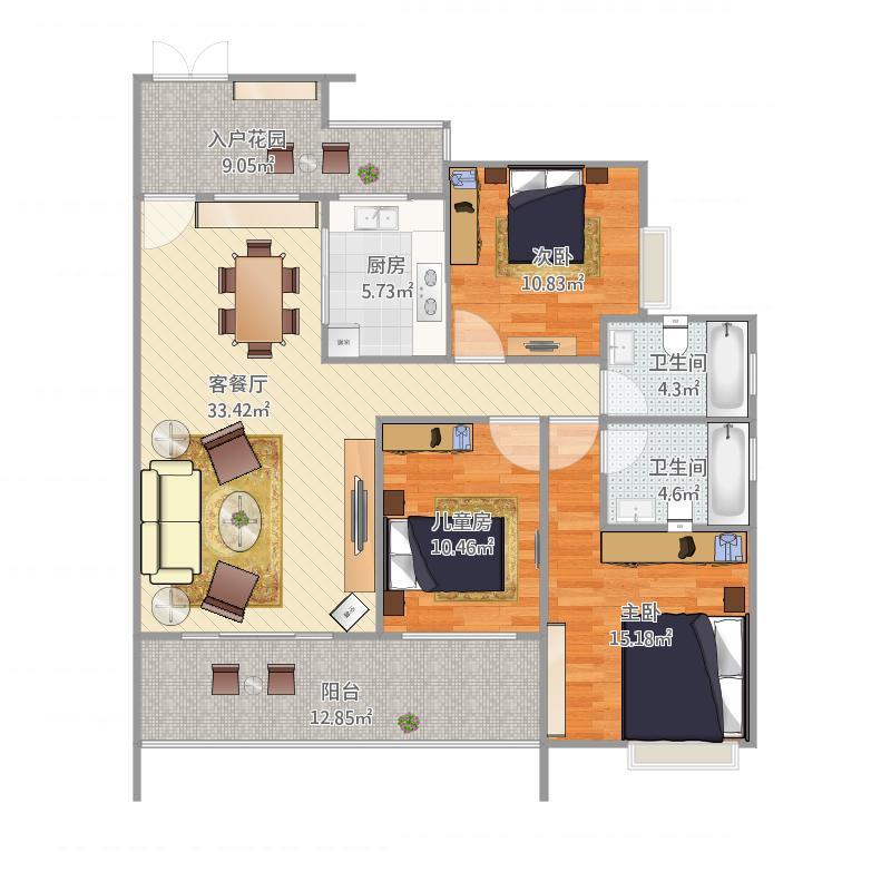 均安尚苑_均安尚苑18座03户型3室1厅2卫2厨143.00㎡户型图