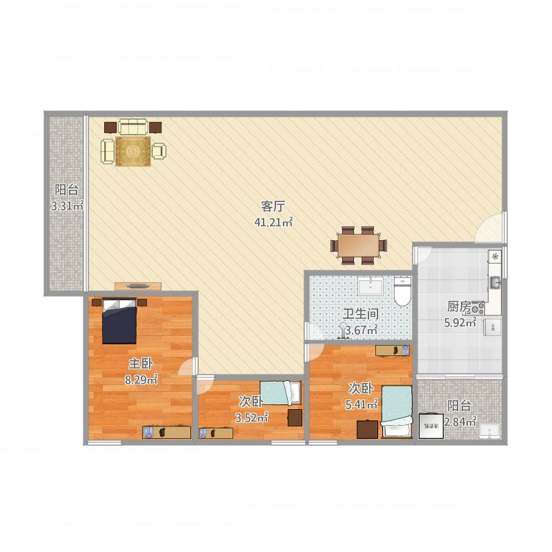 泓景苑5栋01户型3室1厅1卫1厨100.00㎡户型图