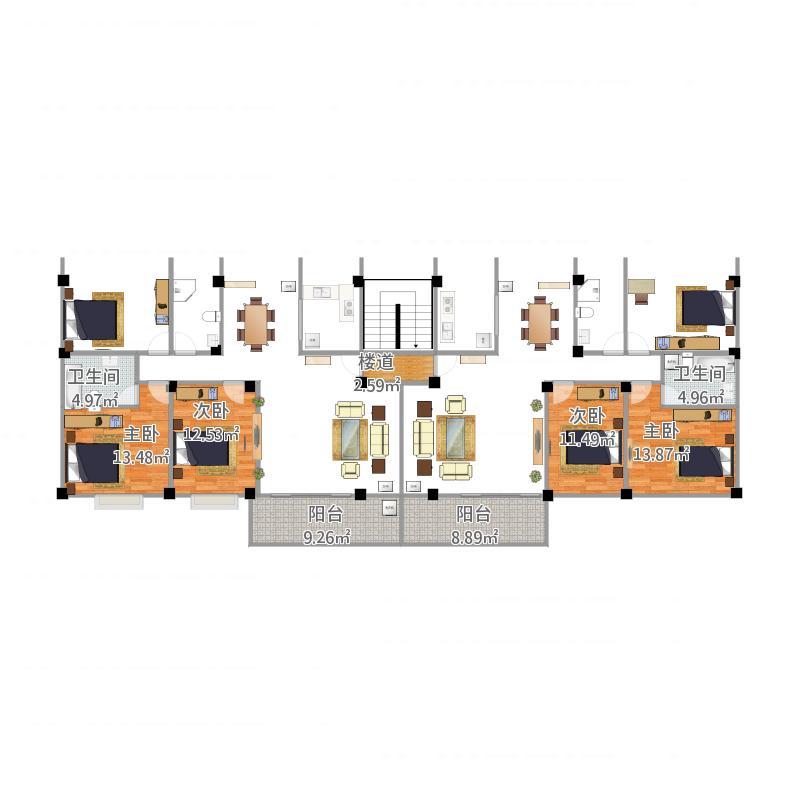 农村一梯两户设计图4室0厅2卫0厨112.00㎡户型图图片