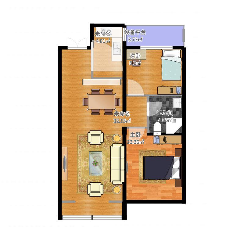 万达华府2室0厅4卫0厨91.00㎡户型图