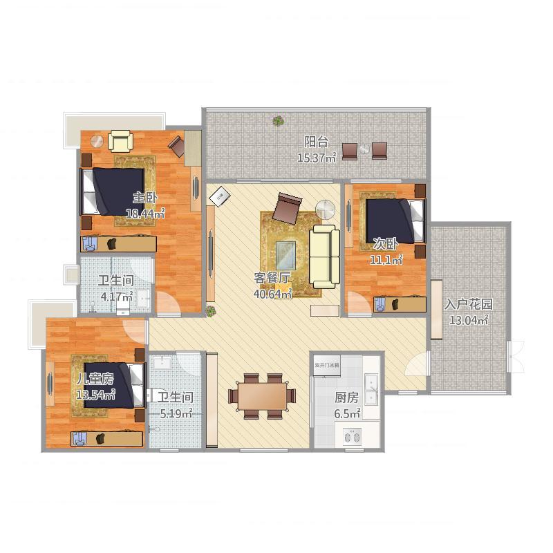 均安尚苑_均安尚苑20座02户型3室1厅2卫1厨171.00㎡户型图