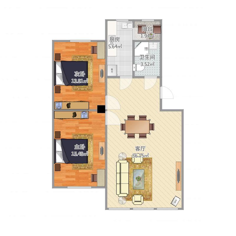 辽工大小学教师2室1厅1卫1厨102.00户型图公寓朱瑞图片
