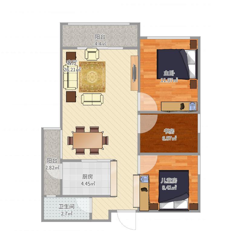 东晟蓝滨城3室1厅1卫1厨90.00㎡户型图
