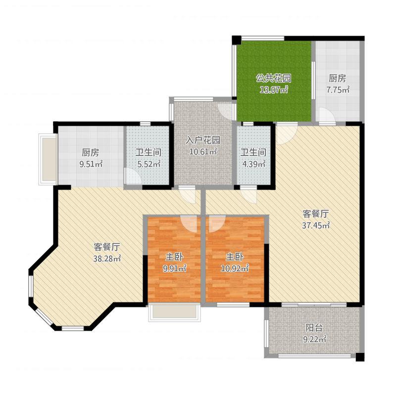 容桂碧桂园2室2厅2卫1厨204.00㎡户型图