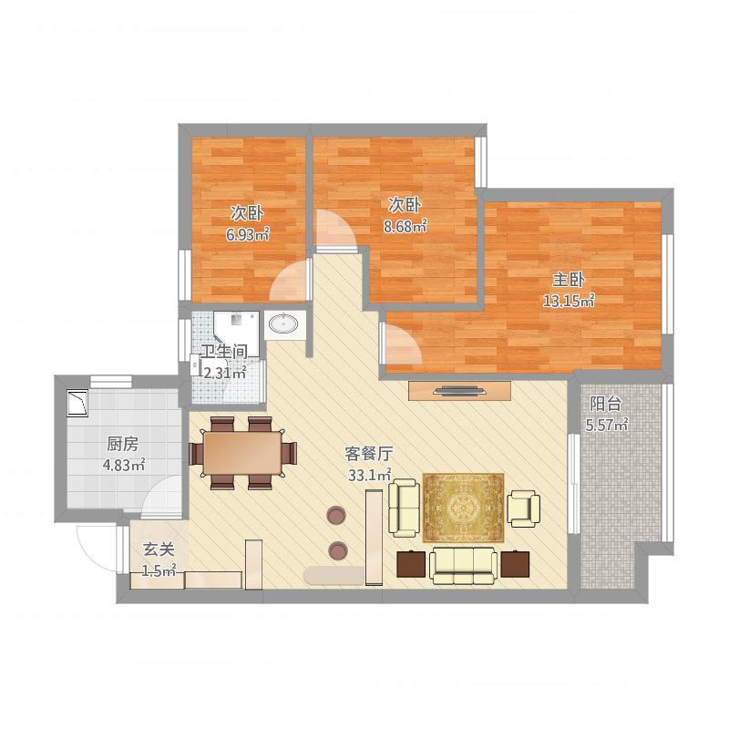 金辉淮安半岛3室1厅1卫1厨105.00㎡户型图