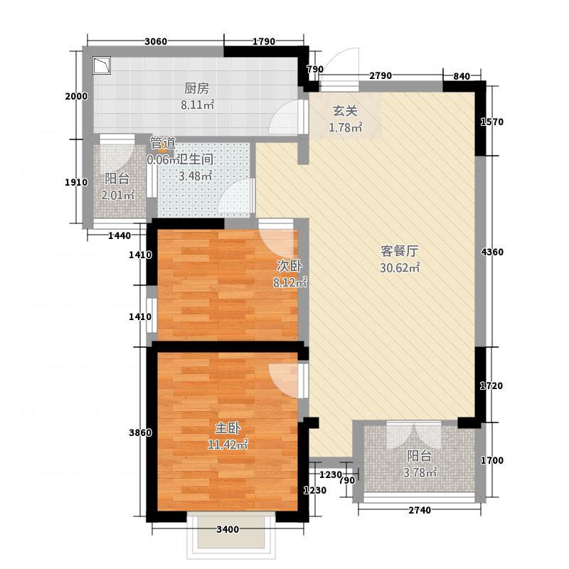 幸福花园h_幸福花园2室1厅1卫1厨97.00㎡户型图
